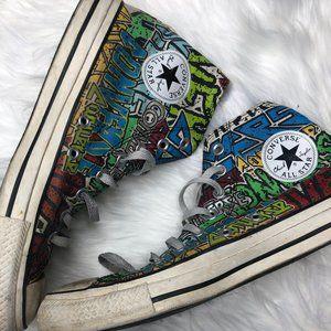 RARE Converse Graffiti High Top Sneakers 8